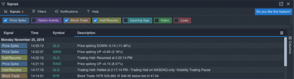 Screenshot of Signals in Benzinga Pro