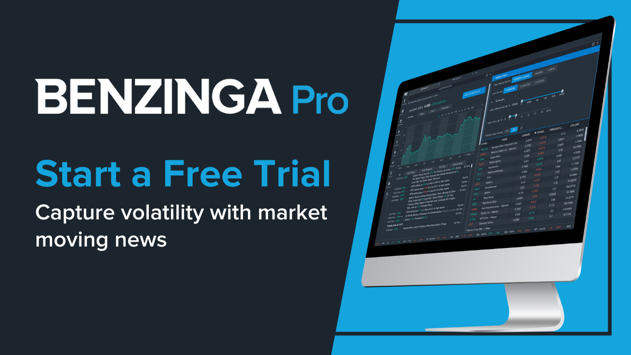 """image of benzinga pro on a computer screen, with the benzinga pro logo and the words """"Start a Free Trial. Capture volatility with market moving news"""""""