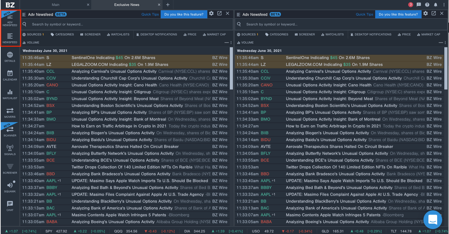 Screenshot of two Newsfeeds in Benzinga Pro, with a red box around the Newsfeed and Beta Advanced Newsfeed button.